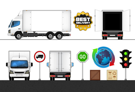 isolated empty white side truck in transport collection vector illustration Vector