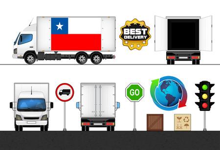 bandera de chile: aislado bandera de Chile cami�n marcado en el transporte de recogida ilustraci�n vectorial Vectores