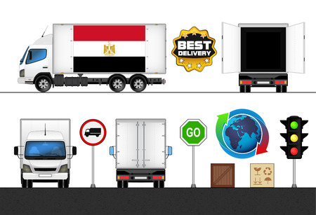 isolated Egypt flag labeled truck in transport collection vector illustration Vector