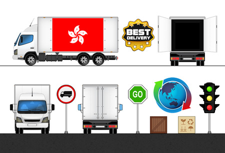 hong kong street: isolated Hong Kong flag labeled truck in transport collection vector illustration Illustration
