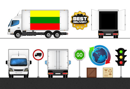 lithuania flag: isolated Lithuania flag labeled truck in transport collection vector illustration Illustration