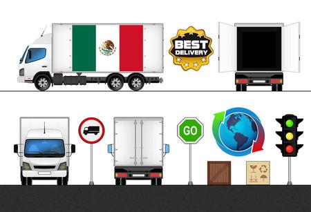 mexican flag: isolato messicano bandiera camion etichettato nel settore dei trasporti raccolta illustrazione vettoriale