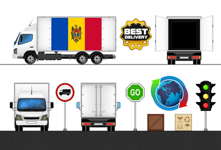 moldavia: isolated Moldavia flag labeled truck in transport collection vector illustration