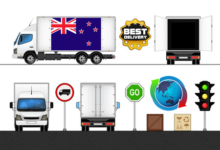 isolated New Zealand flag labeled truck in transport collection vector illustration Vector