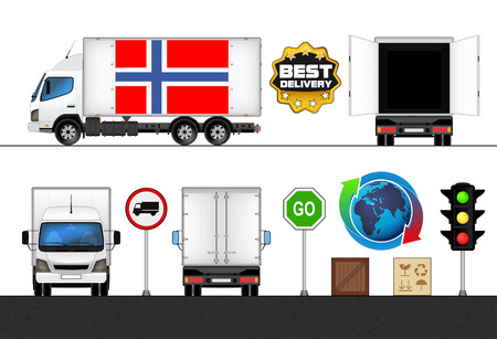 isolated Norway flag labeled truck in transport collection vector illustration Vector