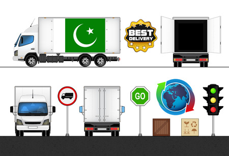 pakistan flag: isolated Pakistan flag labeled truck in transport collection vector illustration