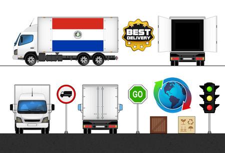 bandera de paraguay: aislado bandera Paraguay cami�n marcado en el transporte de recogida ilustraci�n vectorial