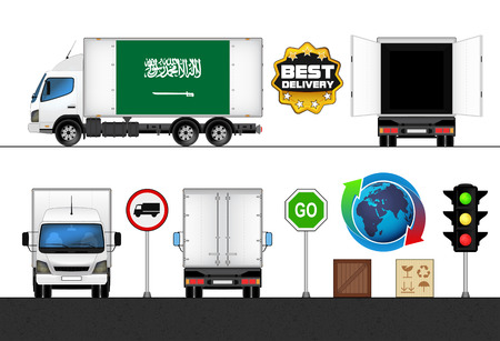 labeled: isolated Saudi Arabia flag labeled truck in transport collection vector illustration