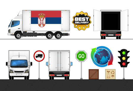 isolated Serbia flag labeled truck in transport collection vector illustration