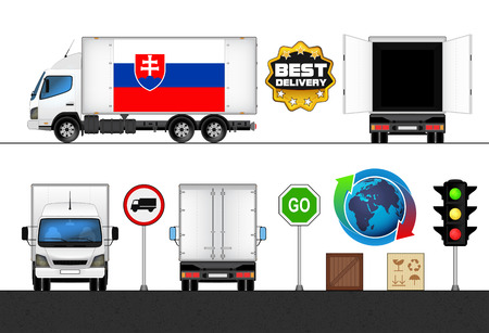 slovakian: isolated Slovakia flag labeled truck in transport collection vector illustration