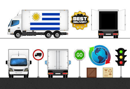 uruguay flag: isolated Uruguay flag labeled truck in transport collection vector illustration