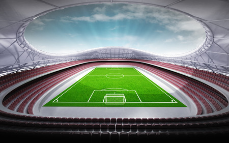 winning pitch: football stadium general view with cloudy background illustration