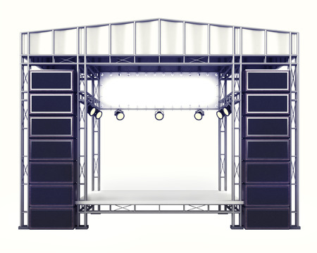roofed house: concert stage steel construction with speakers on white illustration Stock Photo