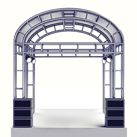 roofed house: festival stage steel construction with speaker on white illustration