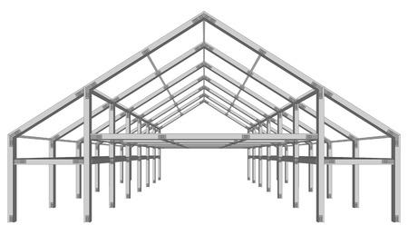 esquema de proyecto de construcción amplia estructura de acero aislado en blanco