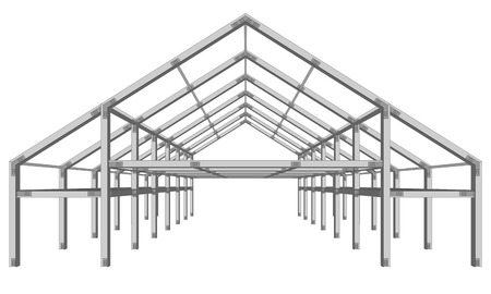 roof framework: steel frame wide building project scheme isolated on white Illustration