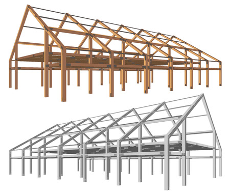 steel and wooden building scheme isolated angle perspective Vector