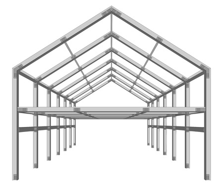 강철 프레임 건물 프로젝트 방식은 흰색 벡터 일러스트 레이 션에 고립