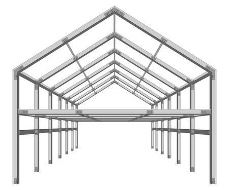 ingeniería: esquema de proyecto de construcción de marco de acero aislado en blanco ilustración vectorial