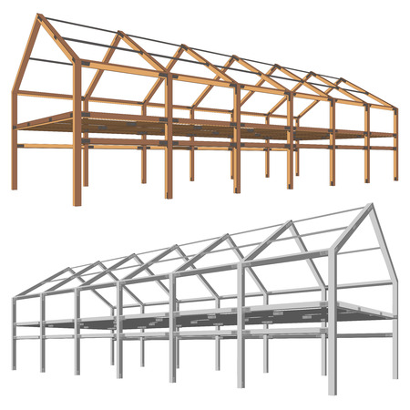 Steel And Wooden Building Scheme Isolated On White Royalty Free ...