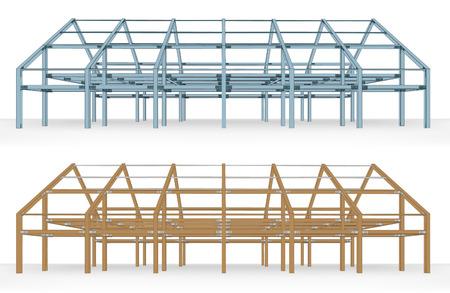 unfinished: esquema de acero y la construcci�n de la viga de madera, aislado ilustraci�n vectorial