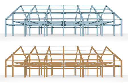 timbered: steel and wooden beam building scheme isolated vector illustration