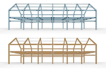 steel beam: steel and wooden beam framework building scheme isolated