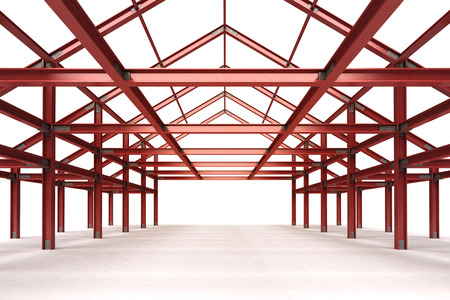 pitched roof: isolated red steel framework building interior perspective view illustration
