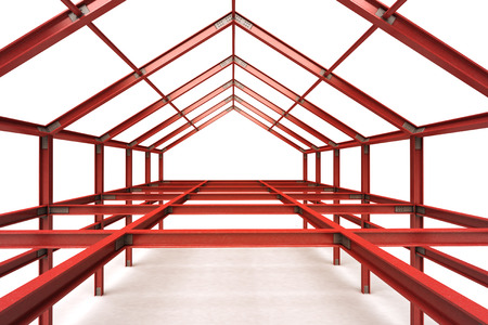 pitched roof: red steel framework building indoor perspective view illustration
