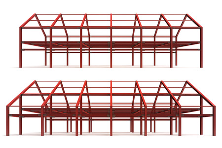red steel framework building side perspective view rendering illustration