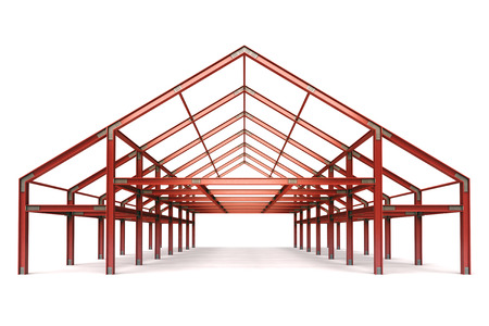 pitched roof: red steel framework wide building front perspective view illustration Stock Photo