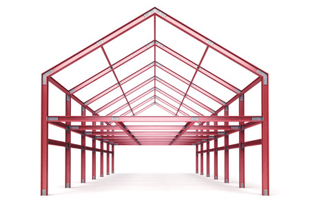 pitched roof: red steel framework building front perspective view illustration Stock Photo