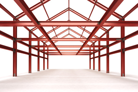 pitched roof: isolated red steel framework building indoor perspective view illustration