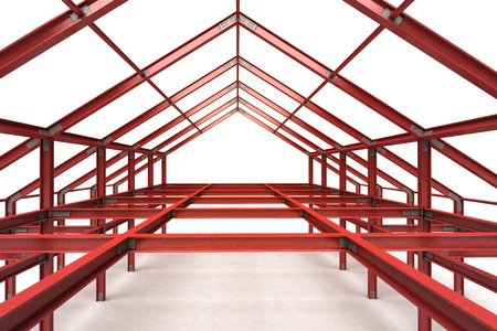 pitched roof: red steel complex framework building indoor perspective view illustration
