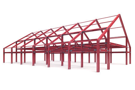 pitched roof: red steel framework wide building angle perspective view illustration