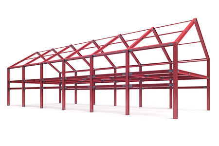 pitched roof: red steel framework building angle perspective view illustration Stock Photo