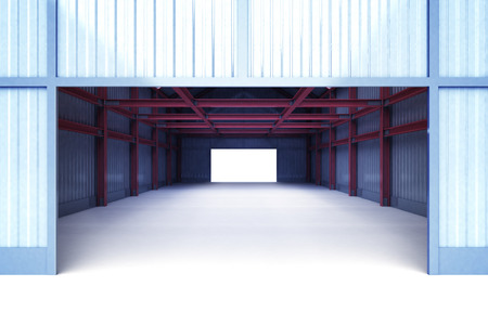 girders: open entrance gate to industrial building perspective view illustration Stock Photo