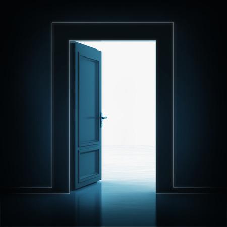 open single door in darkness to light room 3D illustration