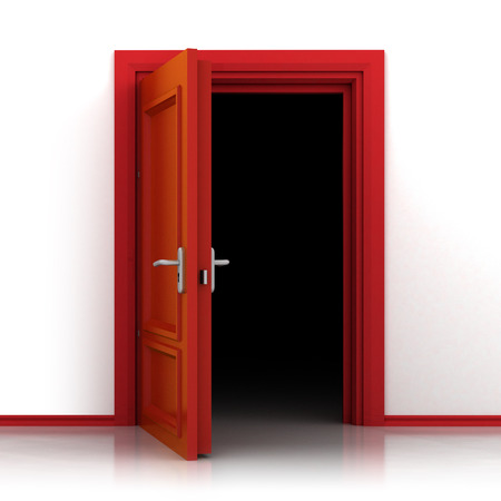 front door: isolated single red opened door out closeup 3D illustration Stock Photo
