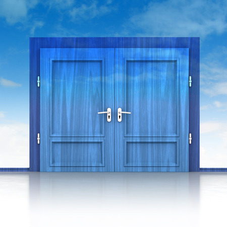 double entry: double wooden door closed in sky background 3D illustration Stock Photo