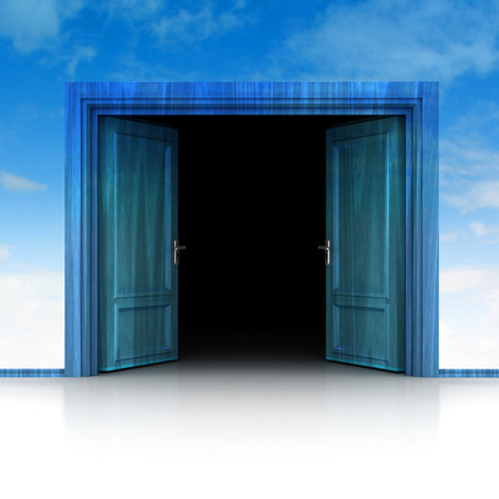 double entry: double wooden door opened in sky background 3D illustration