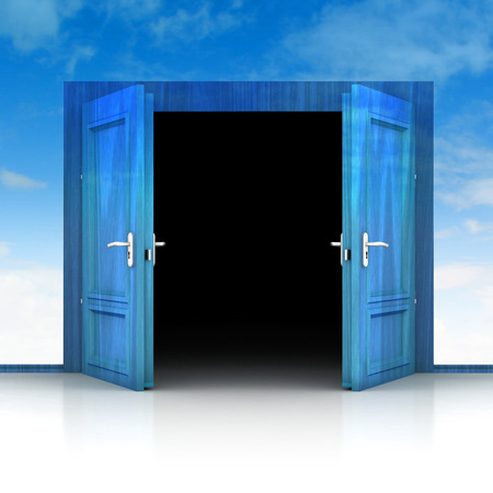 double entry: double wooden door opened out of sky background 3D illustration