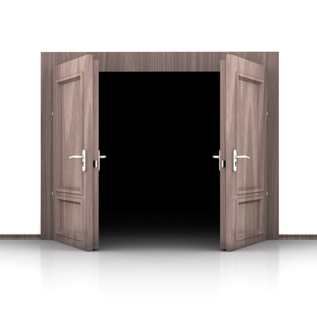 double entry: isolated double wooden opened out door detail 3D illustration