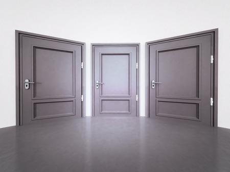 interior with three closed doors in 3D illustration illustration