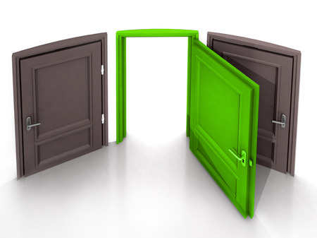 three doors with the middle open one green in 3D illustration