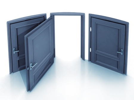three doors with the middle open one in 3D illustration illustration