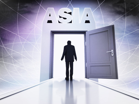 come home: person going to visit Asia behind magic doorway background illustration Stock Photo