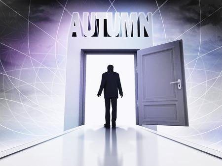 walking person to coming autumn through magic doorway background illustration illustration