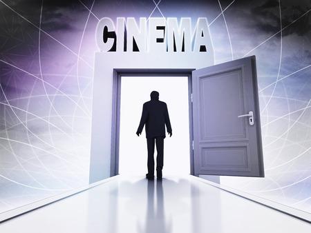 screening: person going to cinema screening through magic doorway background illustration