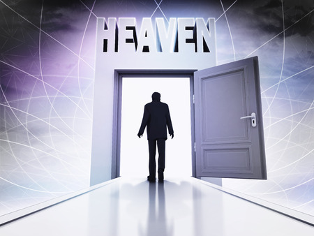 divinity: person going to heave behind magic doorway background illustration